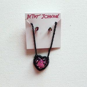 NWT Betsey Johnson Heart Necklace & Earring Set!